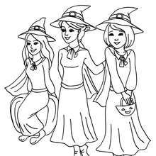 Dibujo De 3 Jovenes Brujas Para Colorear Halloween Dibujos Para