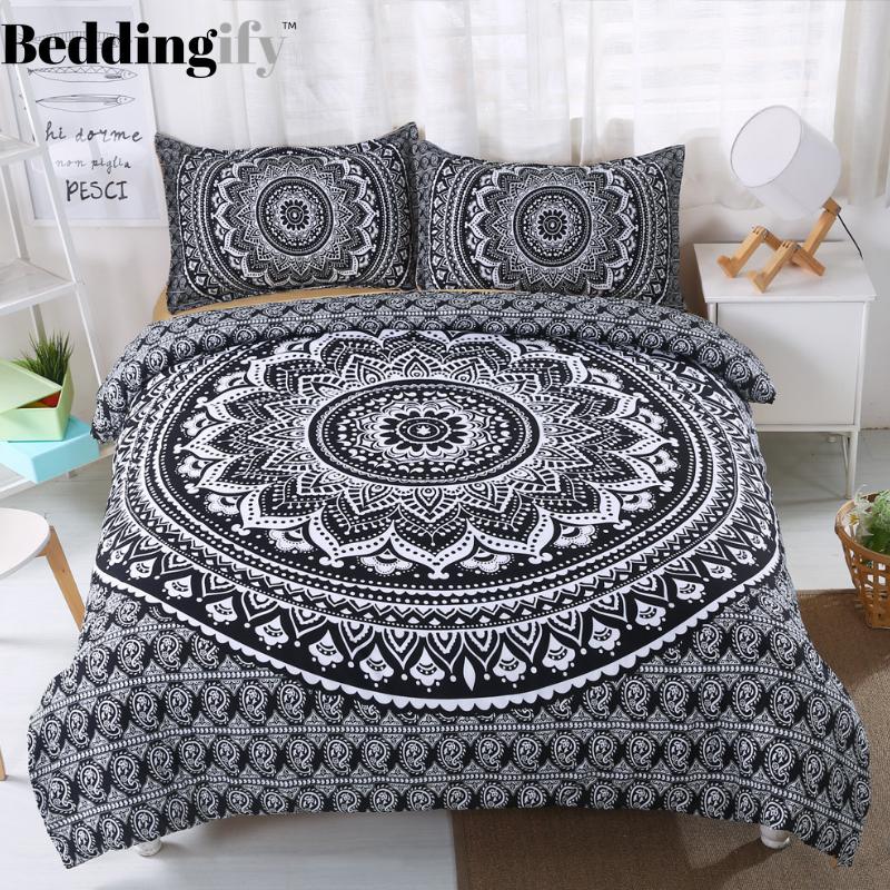 Black Lotus Mandala Pattern Bedding Set Patterned Bedding Sets