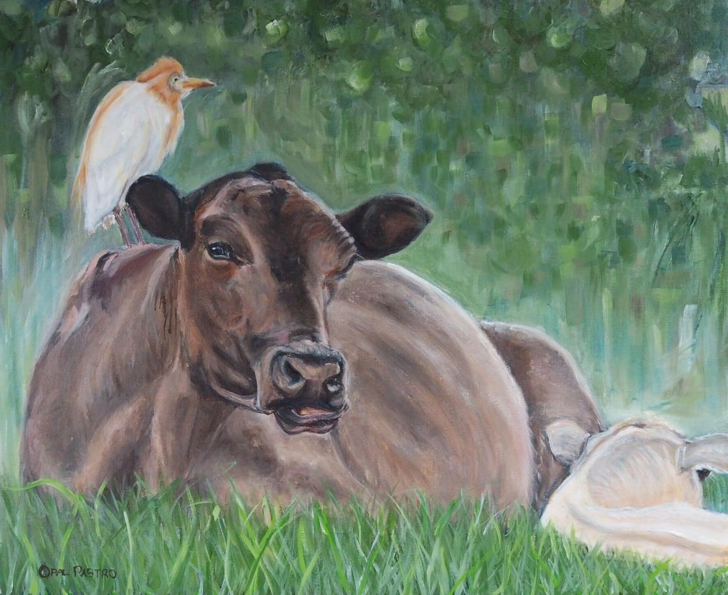Cow Painting ORIGINAL artwork Cow and Calf Cattle Egret Farm Art Home Decor by BrightEyesByOpal on Etsy