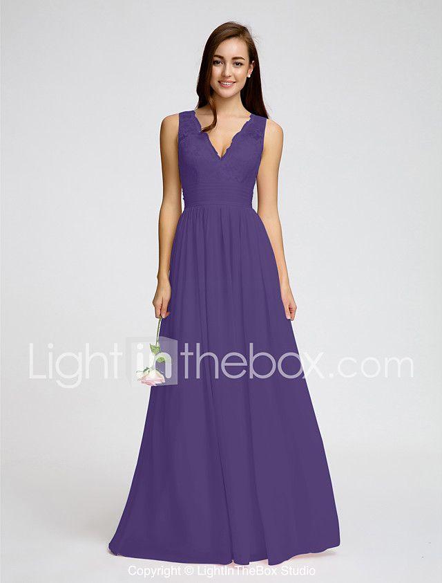 A-Line V Neck Floor Length Chiffon / Lace Bodice ...