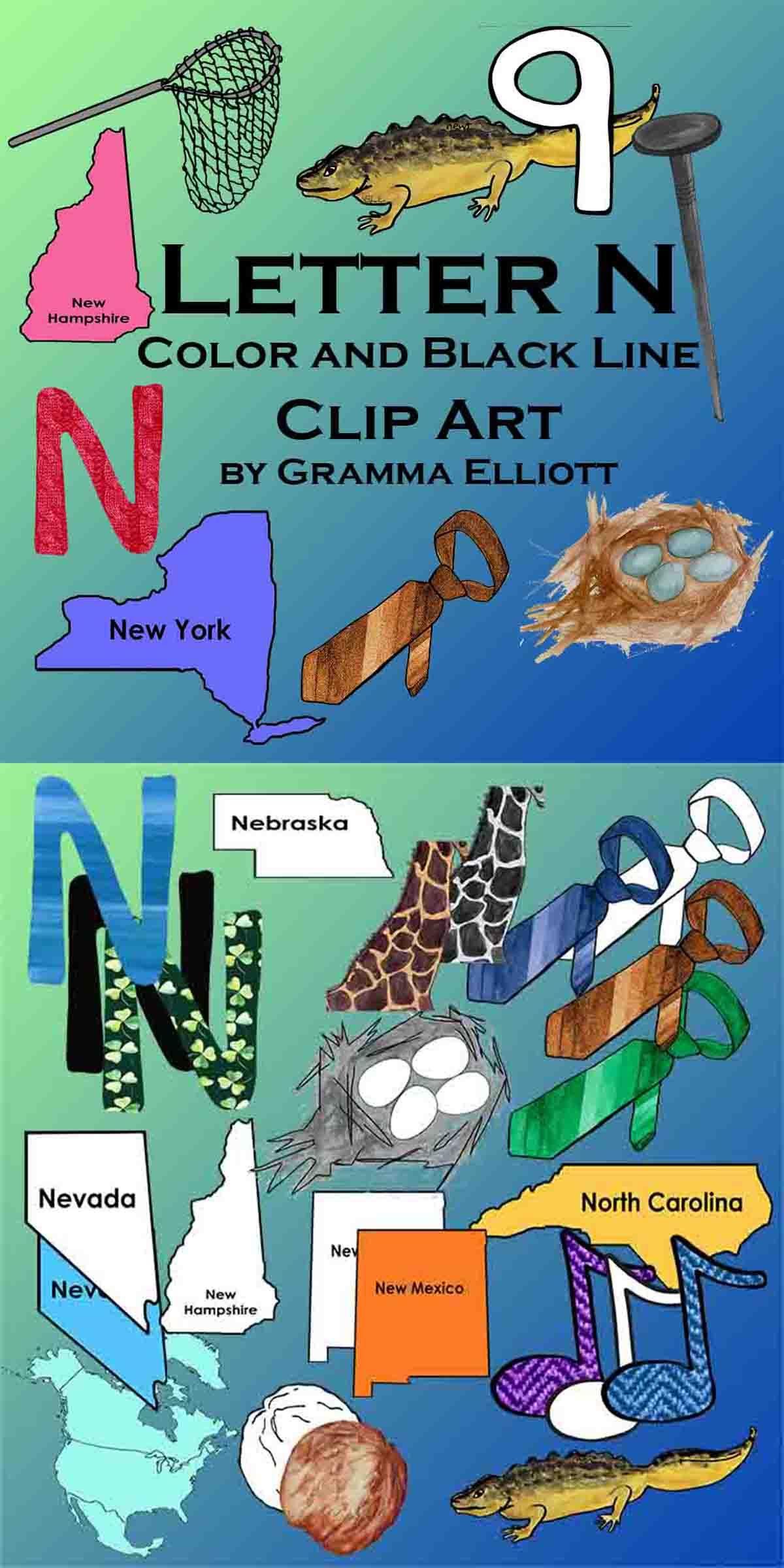Letter N Clip Art Phonics Beginning Letter N Color and