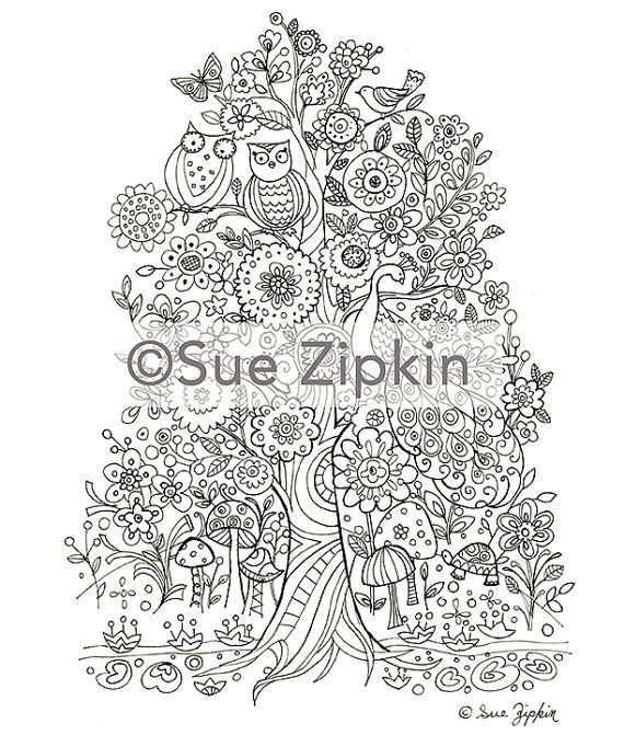 Sue Zipkin Printable Tree Of Life Coloring Page By SueZipkinShop