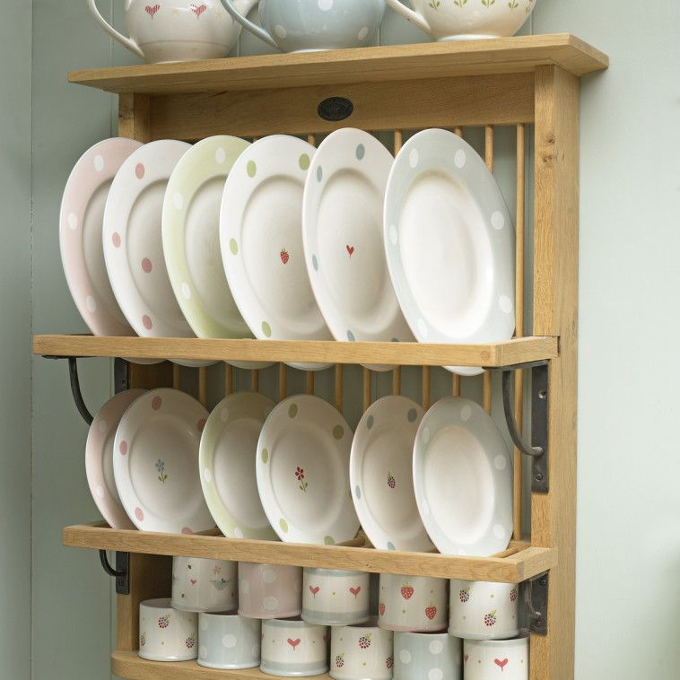 Varnished White Oak Wood Display Plate Rack With Bottom Cup Shelf With Dish Rack Shelf Also Wall Mounted Dryer & Varnished White Oak Wood Display Plate Rack With Bottom Cup Shelf ...