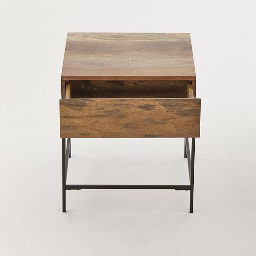Industrial Storage Side Table Solid Wood Bedside Tables