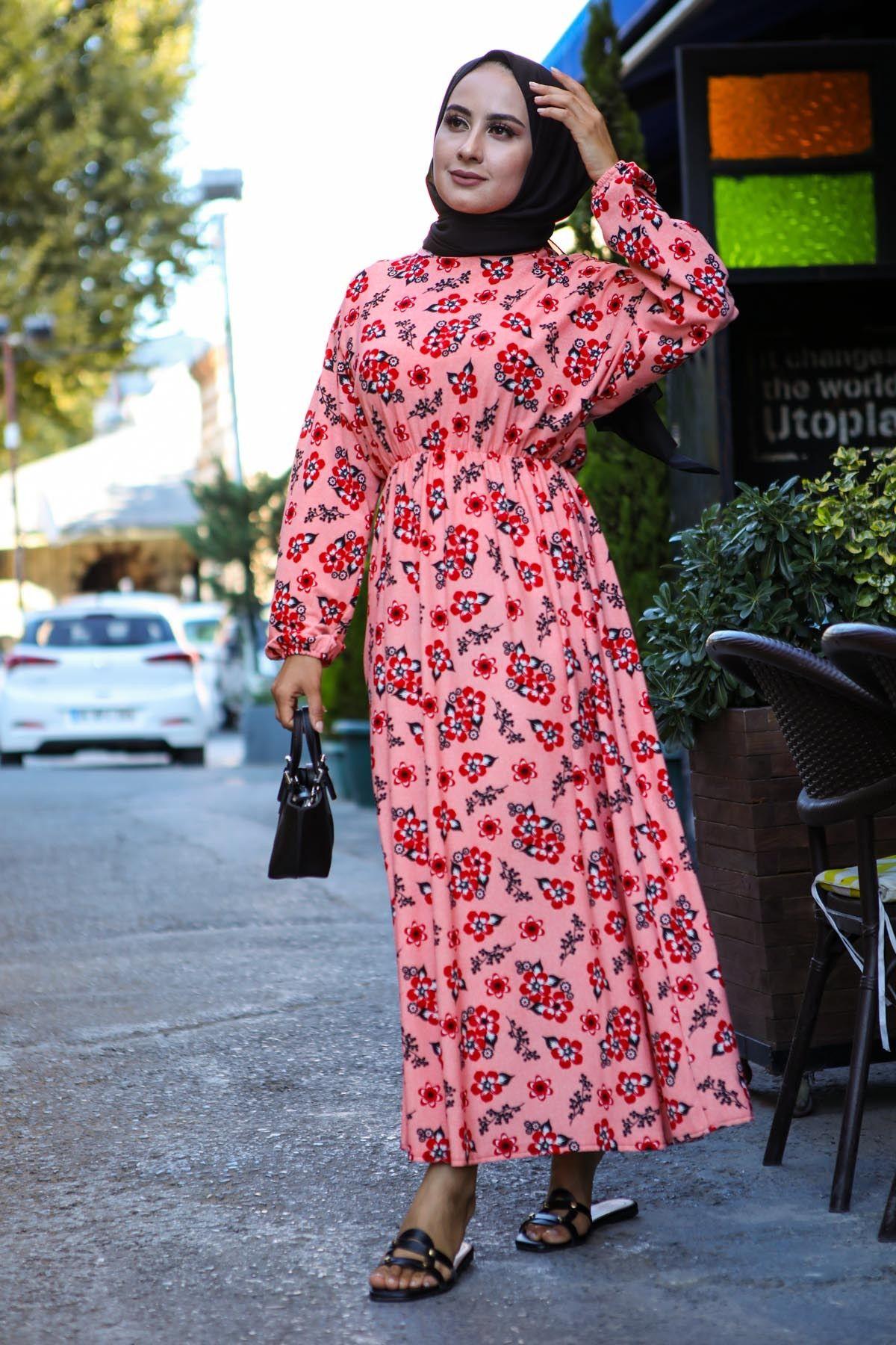 Cicekli Yazlik Tesettur Elbise Pembe 2020 Moda Stilleri Elbise The Dress
