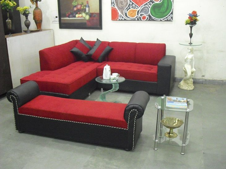 For Red L Shape Sofa With Settee