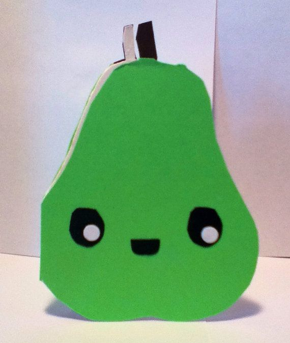 Handmade Kawaii Pear Card Cardstock by justcreativecards on Etsy, $3.50