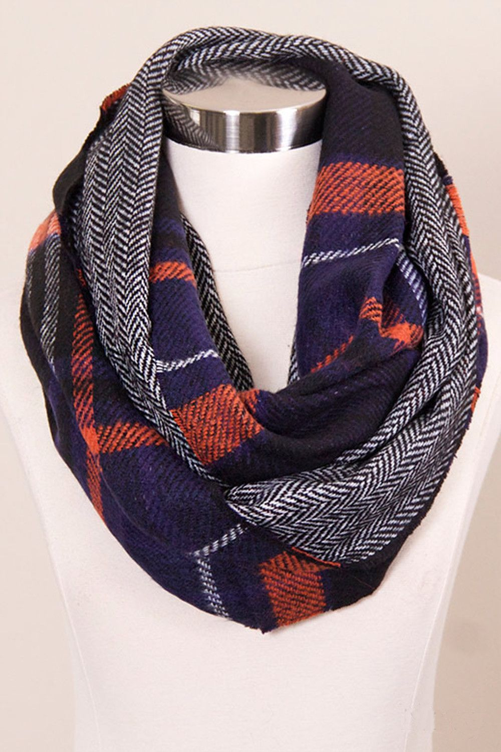 Plaids The Word Infinity Scarf-Navy