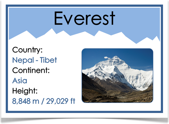 The Seven Summits - Treetop Displays - A unique set of 8 ...