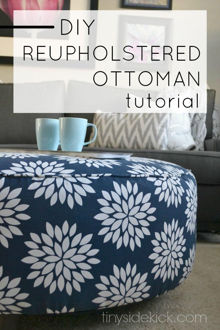 How to reupholster an ottoman | Camas altas, Otomanas y Tutoriales