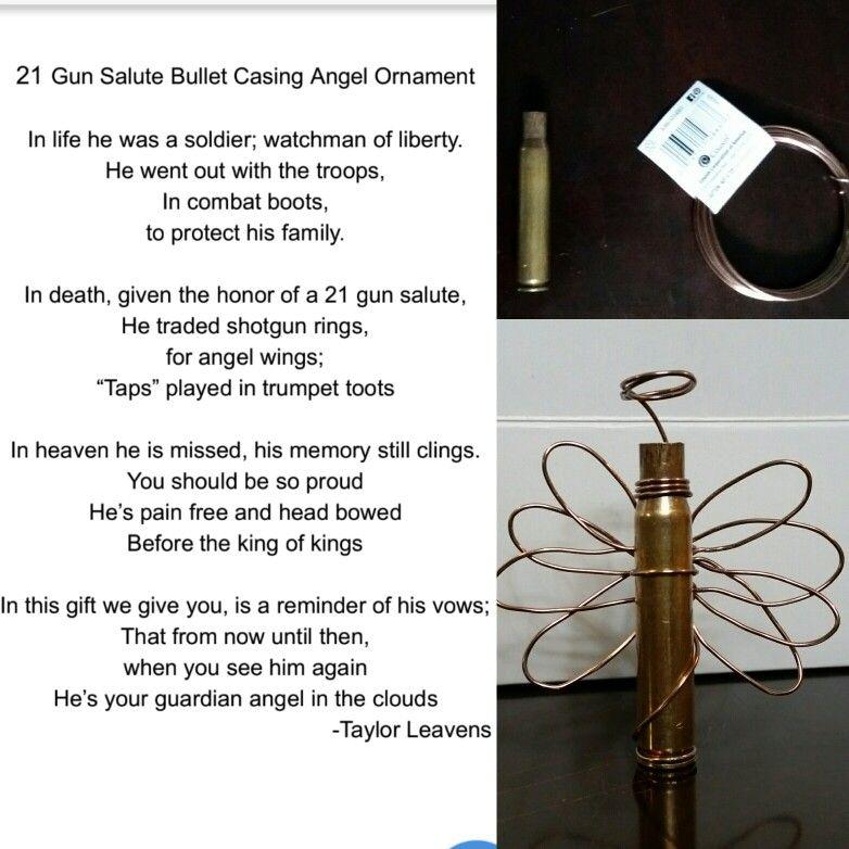 Diy 21 gun salute bullet casing angel ornament with poem as a
