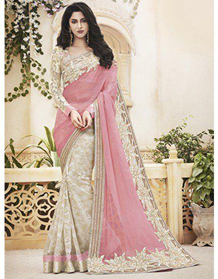 Cream and Light Pink Jute Net Saree with Stone Work