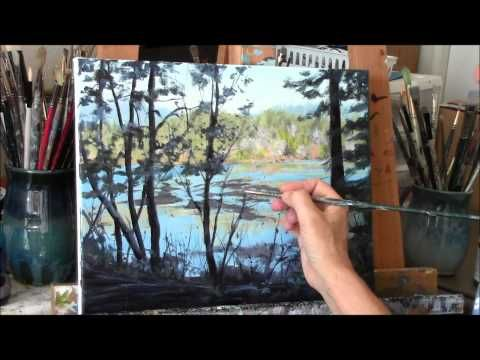 """Acrylic River and Trees Landscape Painting Demo - """"Reflecting"""" Part 3 - YouTube"""