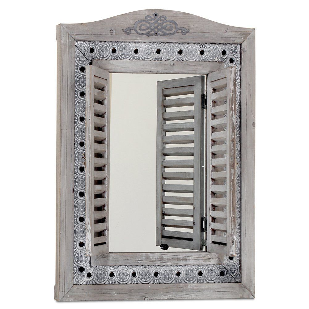 The americana rustic farmhouse mirror with shutters vintage gray