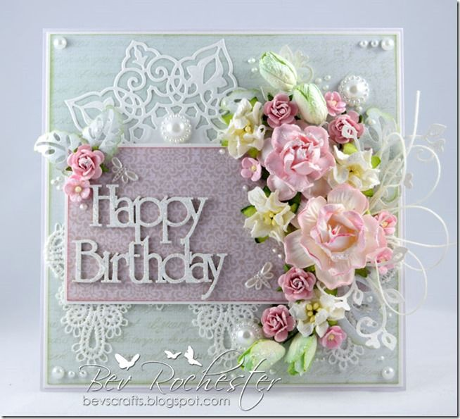 Happy Birthday Roses On Blue Cardstock