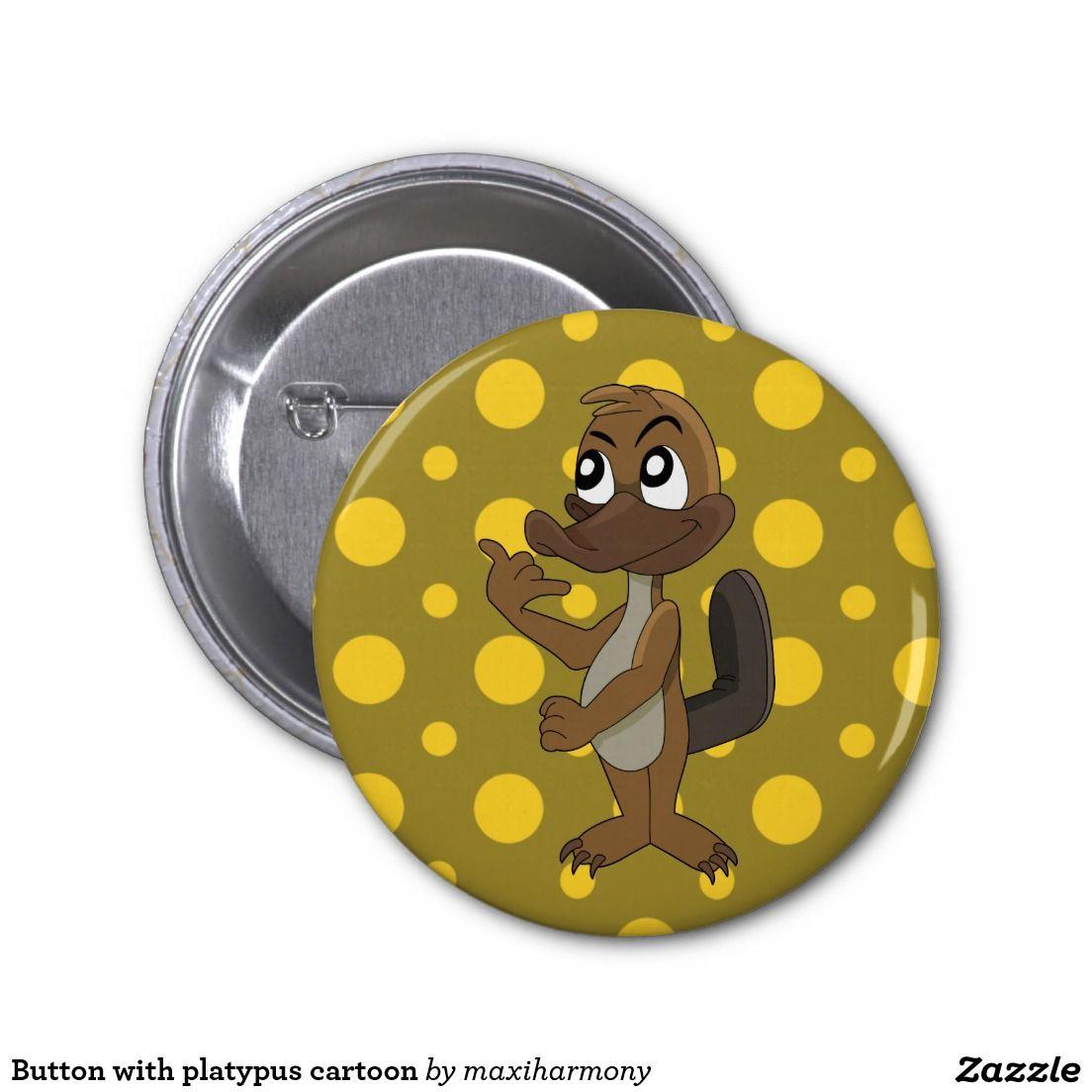 Button with platypus cartoon