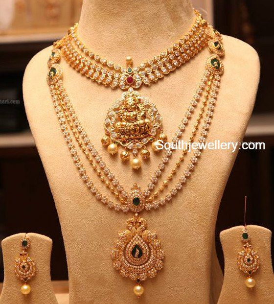 Latest Indian Bridal Jewellery Designs 2018 With Price: Lakshmi Pacchi Necklace And CZ Haram Photo