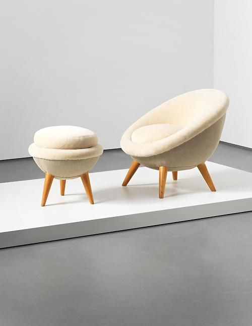 Jean Royère, 'Oeuf' chair and stool, 1953. Fabric, oak.