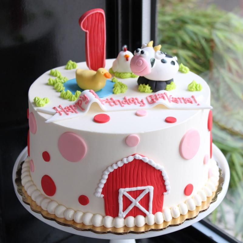 Dotty Farm Animal Birthday Cake. Instead Of Pink Do Red