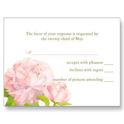 BridalHeaven Delicate Peony Wedding Response Cards Post Cards by BridalHeaven