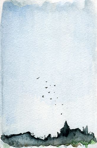 Fly away with this simple and lovely watercolor sketch by willymj, via Flickr.