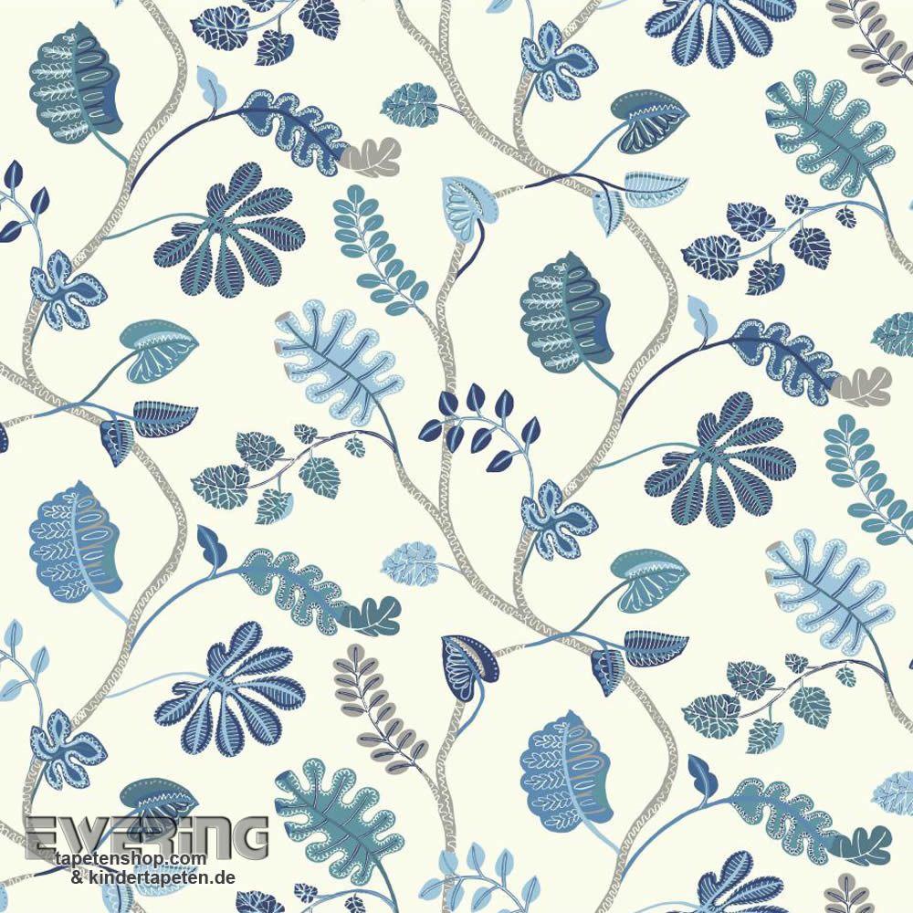 23-326856 Waverly Small Prints Rasch Textil Ranken-Tapete blau ...