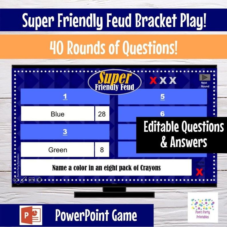 Family Friendly Trivia Game Customizable Powerpoint Template Etsy In 2021 Powerpoint Games Powerpoint Game Templates Family Feud Game