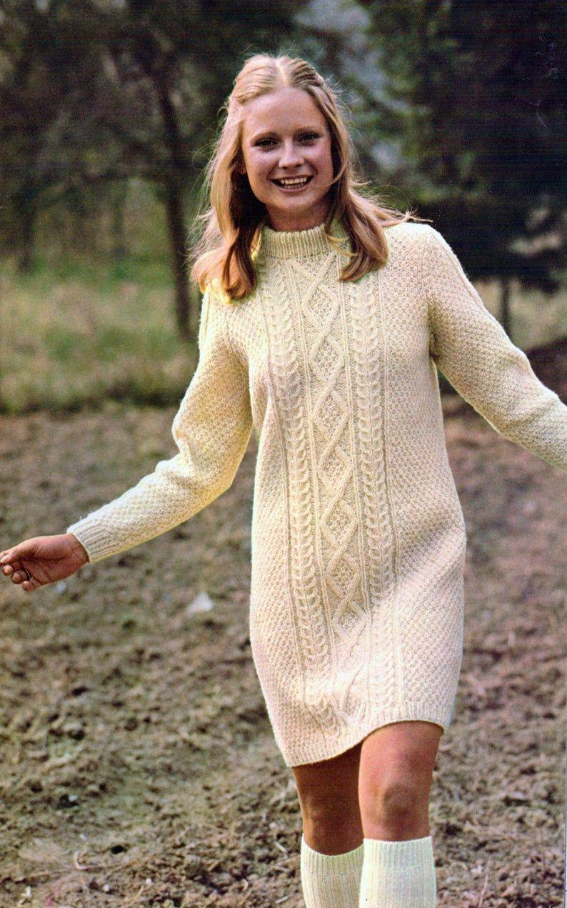 Cable Dress Vintage Knitting Pattern Cabled Aran Long Sleeve Etsy Knit Dress Pattern Crochet Dress Pattern Sweater Dress Pattern [ 1271 x 794 Pixel ]