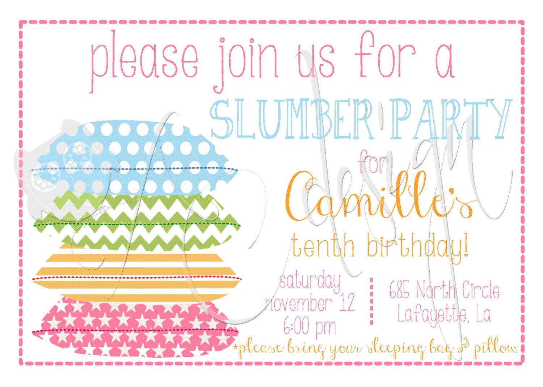 DIY Printable Slumber Party Sleepover birthday invitation design ...