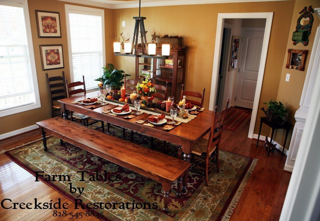 Dining Room Sets With Bench | Matching Farm Style Dining Table And Benches  In Knotty Pine   Osborne .