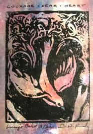 "Linocut "" Lucy's Bird"" by Susan Kennedy.  For the C.S. Lewis devotee."
