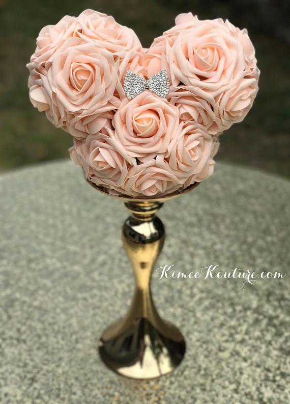 Pink BLUSH MICKEY Flower Ball With RHINESTONE Bow Brooch. Mickey ...
