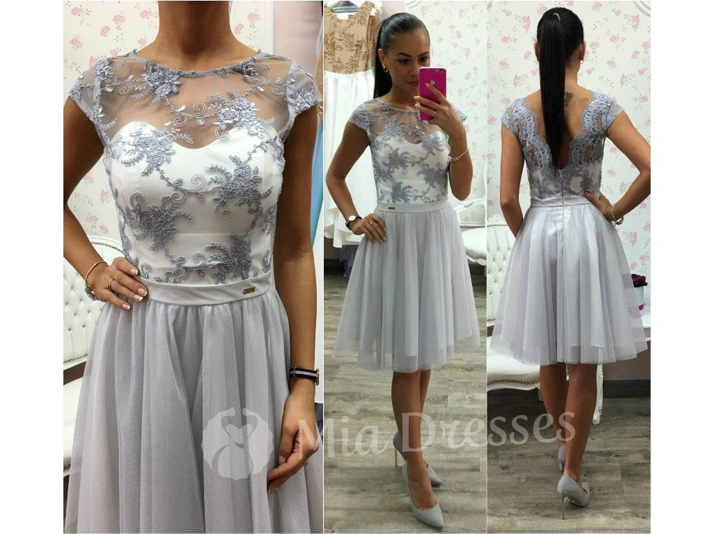 Bielo-sivé spoločenské šaty. Krátke spoločenské šaty s padavou tylovou  sukňou sú vo vrchnej fd84b568bc6