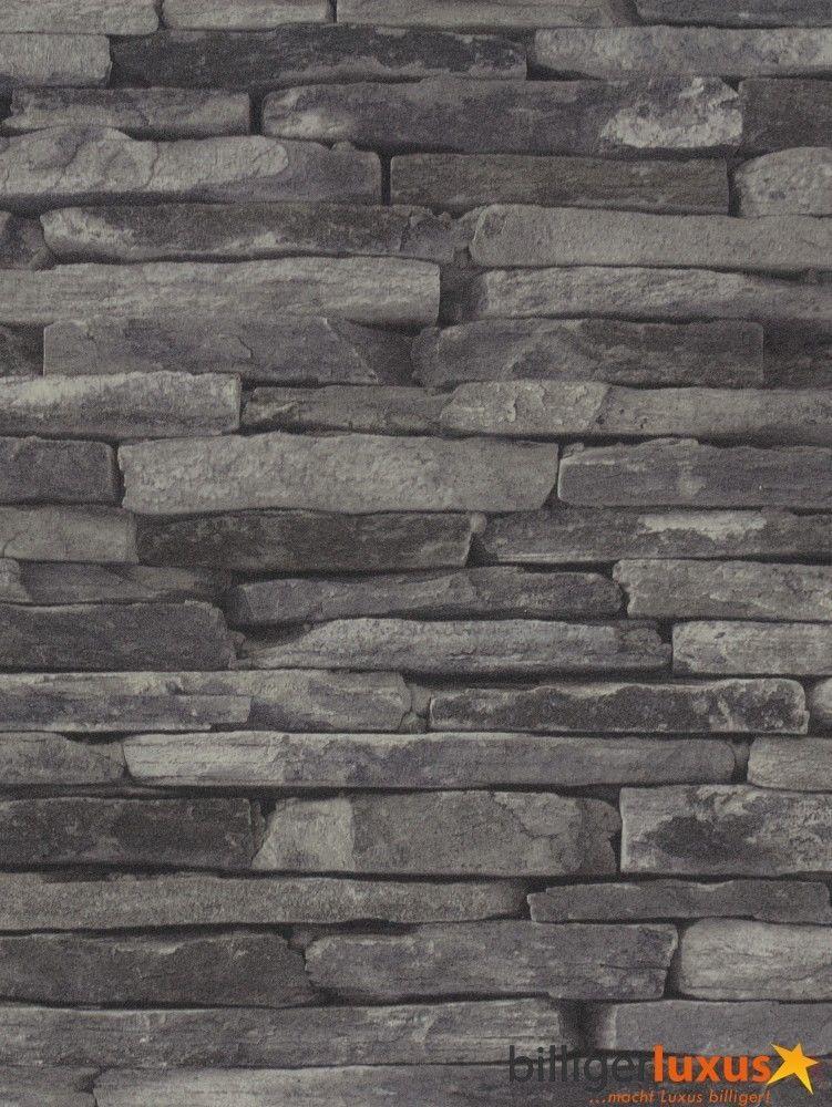 Details zu vliestapete grau schwarz steine as creation for Tapete natursteinoptik