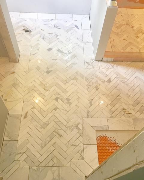 Calacatta Gold Marble 2x8 Herringbone Mosaic Tile Shower Floor Tile Small Bathroom Renovations Tiles