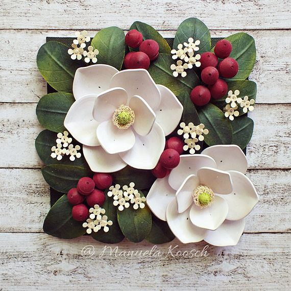 Magnolia Wall Art Quilling Paper 3d Flowers White Flowers Botanical Decor Paper Anniversary Gift For Her Nursery Decor Quilling Flowers Paper Quilling Flowers Paper Quilling