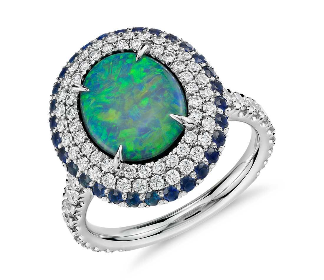 Black Opal and Diamond and Sapphire Halo Ring in Platinum 2 33 ct