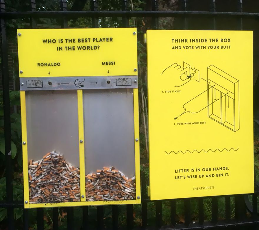 Now here's a really original way to keep the streets clean. It was invented by the Hubbub organization from the UK. The project encourages smokers to vote on a variety of topics by putting their cigarette butts in separated containers instead of throwing them on the pavement.