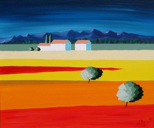Coquelicots de Provence - Peinture, 55x46 cm ©2004 par Antoine ...