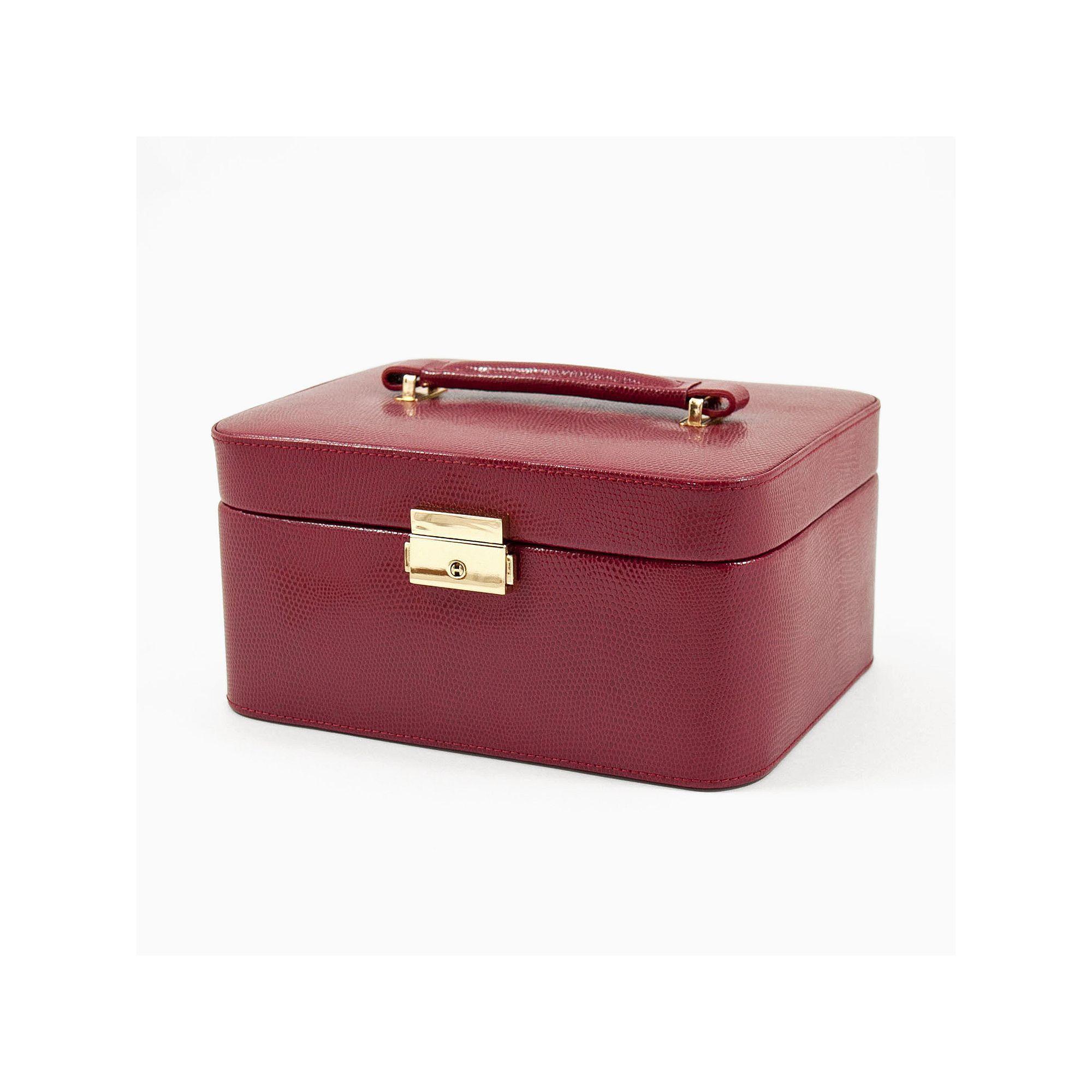 BeyBerk Lizard Leather Jewelry Box Valet and Travel Case Set Red