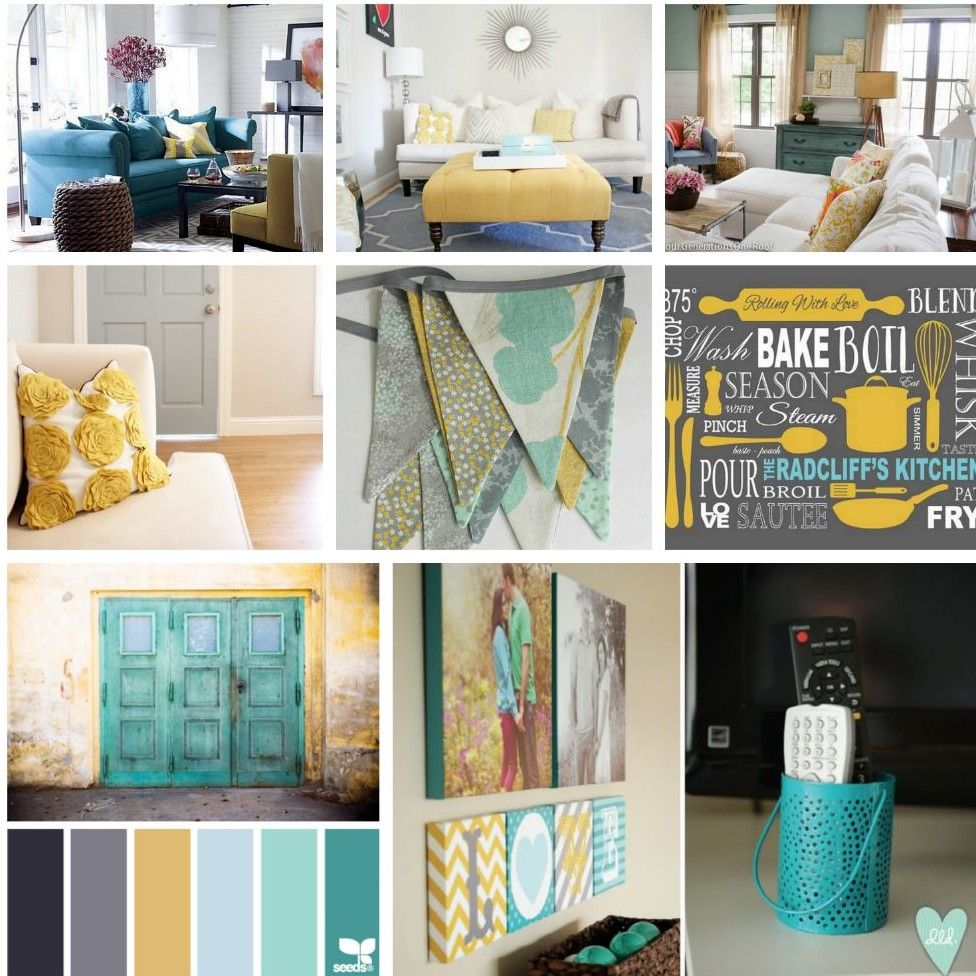 Gray Teal And Yellow Color Scheme Decor Inspiration Living