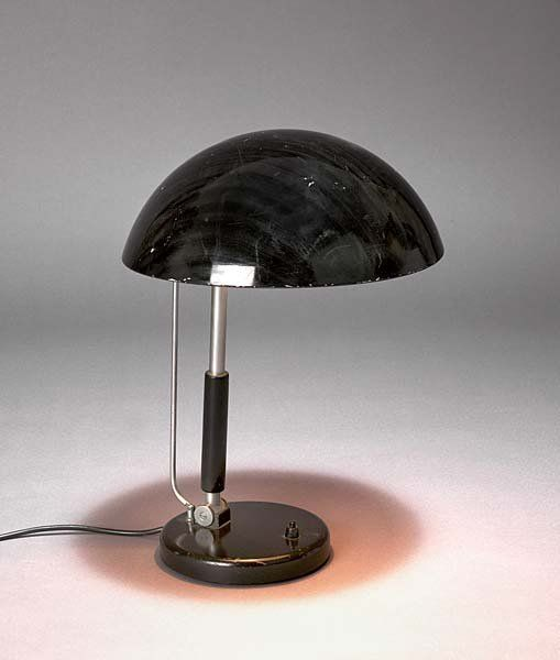 Karl Trabert; Nickel-Plated Steel and Enameled Metal  Table Light for Schanzenbach  Co., c1930.