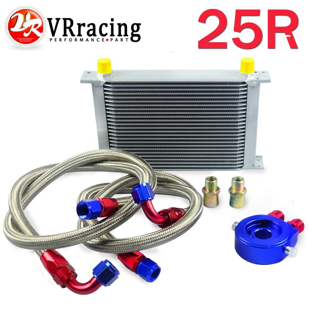 Vr Racing An10 Oil Cooler Kit 25rows Transmission Braided Stainless Wire Harness Silver Filter Adapter