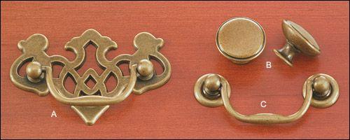 Queen Anne Hardware Hardwareantique Brass Finish   Ea