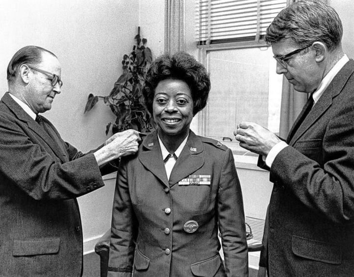 Colonel Ruth Alice Lucas (November 28, 1920 – March 23, 2013), the first African American woman in the Air Force to be promoted to the rank of colonel and who at the time of her retirement was the highest-ranking African American woman in the Air Force. (Col. Lucas is seen at a ceremony in which she was promoted to colonel in 1968.)