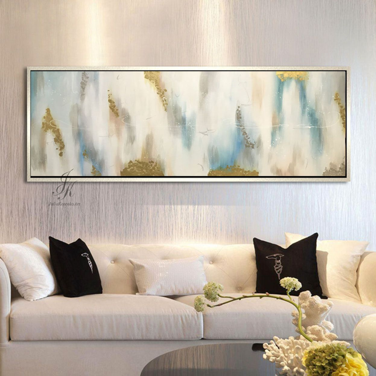 Large Abstract Oil Painting Wall Art Gold Painting Wall Decor Modern ...
