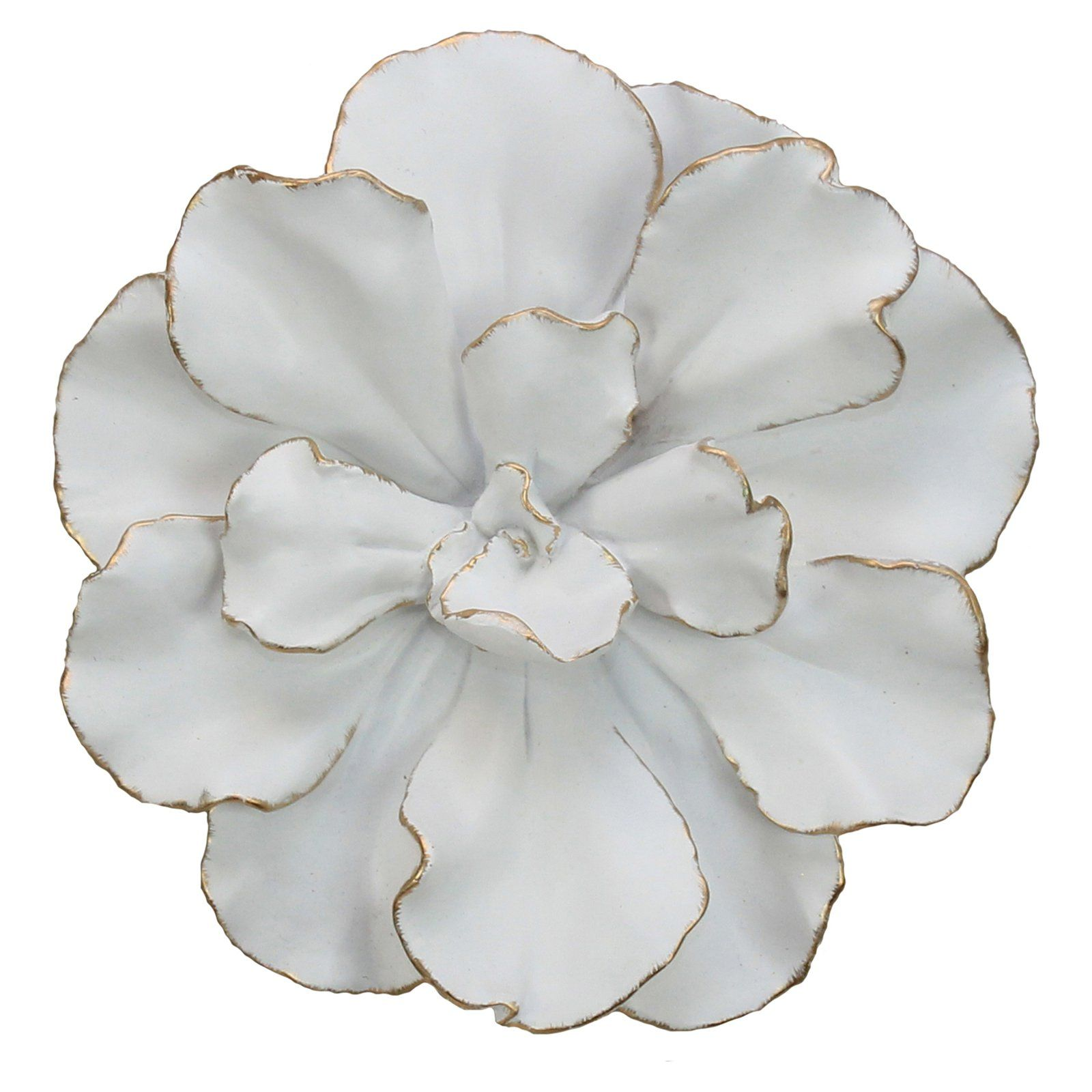 Sagebrook Home White and Gold Flower Wall Accent Gold