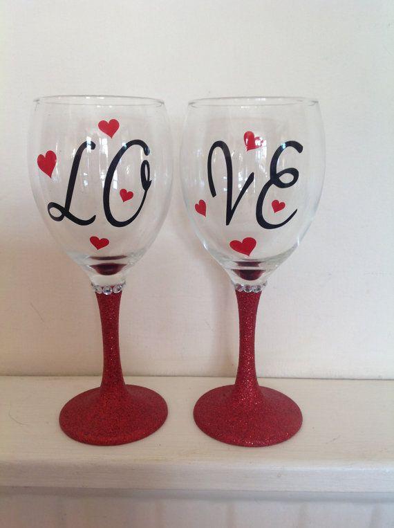 3 x Glitter Sparkle Mickey Disney Valentines Love Hands Vinyl Sticker Cups Glass
