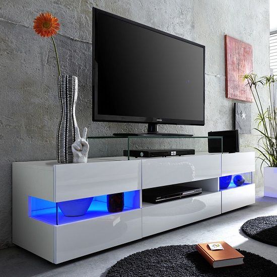 Kirsten Tv Stand In White With Gloss Fronts And Led Tumba Pod Tv