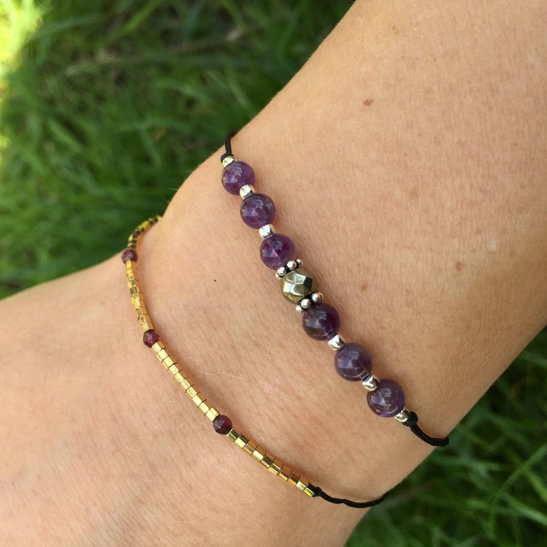 """Bracelet """"porte bonheur"""" Améthyste, pyrite et argent 925"""
